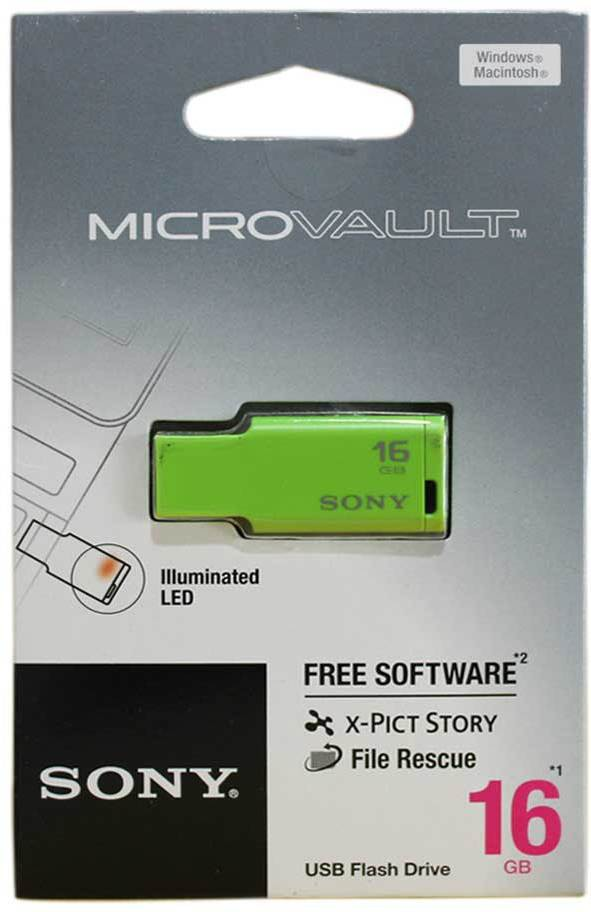 View Sony USM16M 1/G IN MICROVAULT 16 GB Pen Drive(Green) Price Online(Sony)