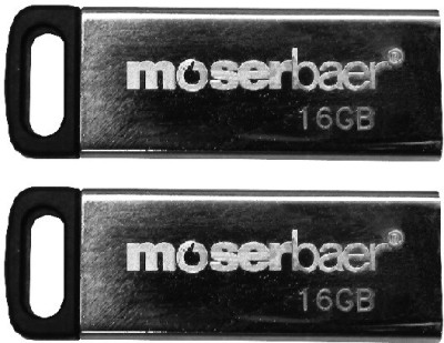 Moserbaer Atom Pack of 2 16 GB Pen Drive