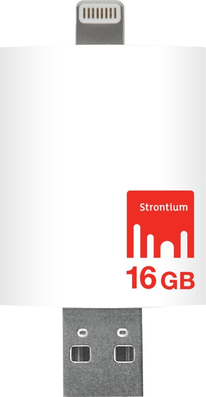 Strontium Nitro iDrive 3.0 OTG Pendrive for iOS 16 GB Utility Pendrive(White, Type A to Lightning)