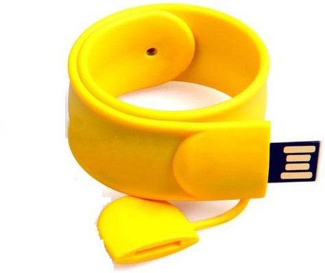 View eShop PVC Rubber Bracelet Shaped Slap Wristband USB Flash Drive 16 GB Pen Drive(Yellow) Price Online(eShop)