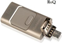 ROQ 3 IN 1 I FLASH DRIVE For iOS Android And PC 16 GB OTG Drive(Gold)