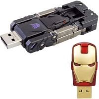 SAM Iron Man Head+Transformer 16 GB Pen Drive(Red, Gold, Black)