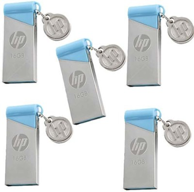 HP v215b Pack of 5 16 GB Pen Drive(Silver, Blue) at flipkart