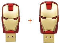 Sam Iron Man Head (Pack of 2) 16 GB Pen Drive(Red, Gold)