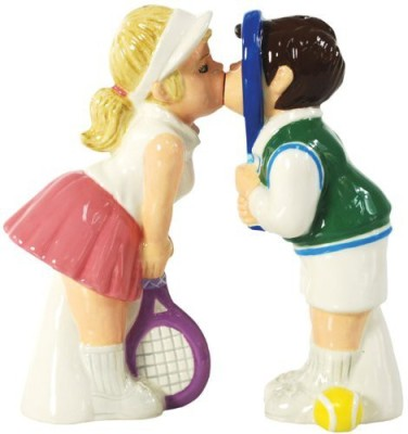 Westland Giftware Mwah Magnetic Tennis Couple Salt And Pepper Shaker Set