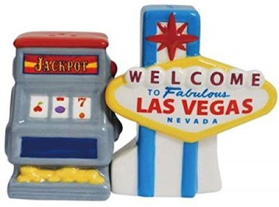 Westland Giftware Las Vegas Sign And Slot Machine Salt And Pepper Shakers