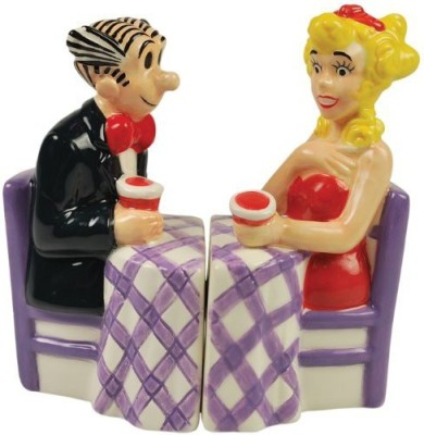 Westland Giftware Blondie Magnetic Blondie And Dagwood At Dinner Table Salt And Pepper Shaker Set
