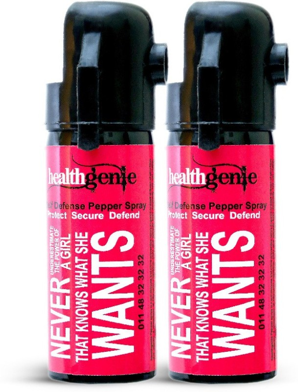 Healthgenie Pepper Spray, upto 10 feet range, 35 gms of Dispensable (Pack of 2) Pepper Stream Spray