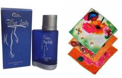 Vablon Blue lady Perfume 100ML + 3 Women Cotton Handkerchiefs Eau de Parfum  -  100 ml(For Women)