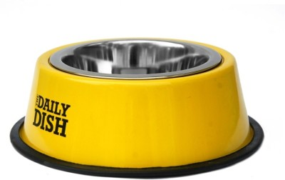 Pet Empire Detachable Anti Skid Dog Feeding Bowl Round Steel Pet Bowl(900 ml Yellow)