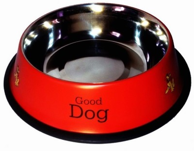 Pet Club51 Round Stainless Steel Pet Bowl(2 L Red)