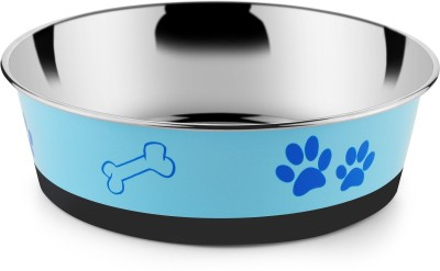 HM STEELS Round Stainless Steel Pet Bowl(1600 ml Blue)
