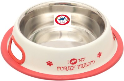 Pet Club51 Furry Friend White 600ml Round Stainless Steel Pet Bowl
