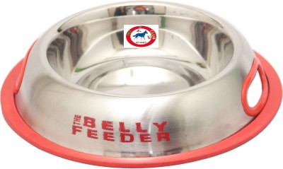 Pet Club51 Belly feeder Red 250ml Round Stainless Steel Pet Bowl