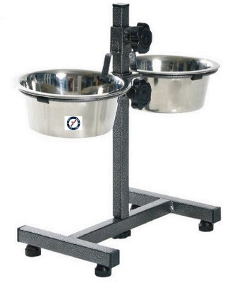PETHUB Bowl Stand Large Round Stainless Steel Pet Bowl