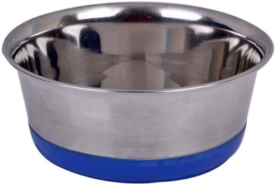 Pet Empire Dog feeding Bowl with silicone Base 2800ml Round Stainless Steel Pet Bowl(2800 ml Steel)