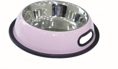 Heureux Round Stainless Steel Pet Bowl(470 ml ml Pink)