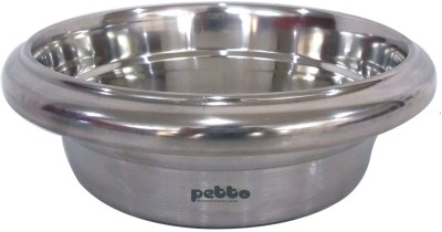 Petto Bowl with anti-skid bottom Stainless Steel Pet Bowl(0.95 L Silver)