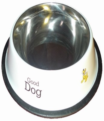 Pets Planet Round Stainless Steel Pet Bowl(1800 ml White)