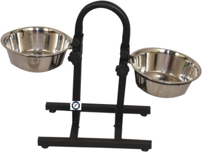 PETHUB Food Bowl Stand With Round stand Extra Large Round Stainless Steel Pet Bowl