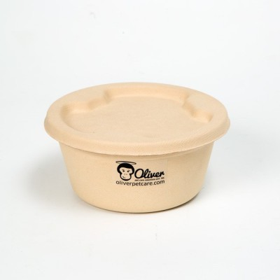 Oliver Pet Care Round Bamboo Pet Bowl(900 ml Beige)