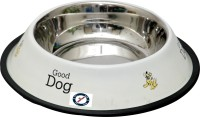 Pethub Medium food bowl Round Stainless Steel Pet Bowl(920 ml White)