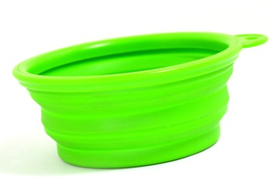 XPO Green Travelling Portable Round Silicone Pet Bowl