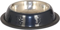 Pet Club51 Round Stainless Steel Pet Bowl(450 ml Black)