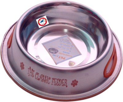 PET CLUB51 CLASSIC FEEDER ORNG Round Stainless Steel Pet Bowl