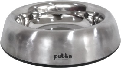 Petto Designer bowl with anti-skid bottom Stainless Steel Pet Bowl(0.24 L Silver)