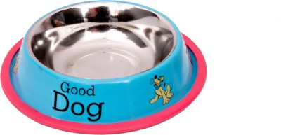 Pet Club51 Sky Blue Dog Food Bowl small Round Stainless Steel Pet Bowl(460 ml Blue)