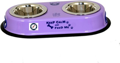 PETHUB Double Dinner Set Small Round Stainless Steel Pet Bowl