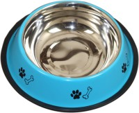 Pethub Small food bowl Round Stainless Steel Pet Bowl(460 ml Blue)
