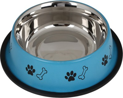 TommyChew Basic Delight Round Steel Pet Bowl(300 ml Red)
