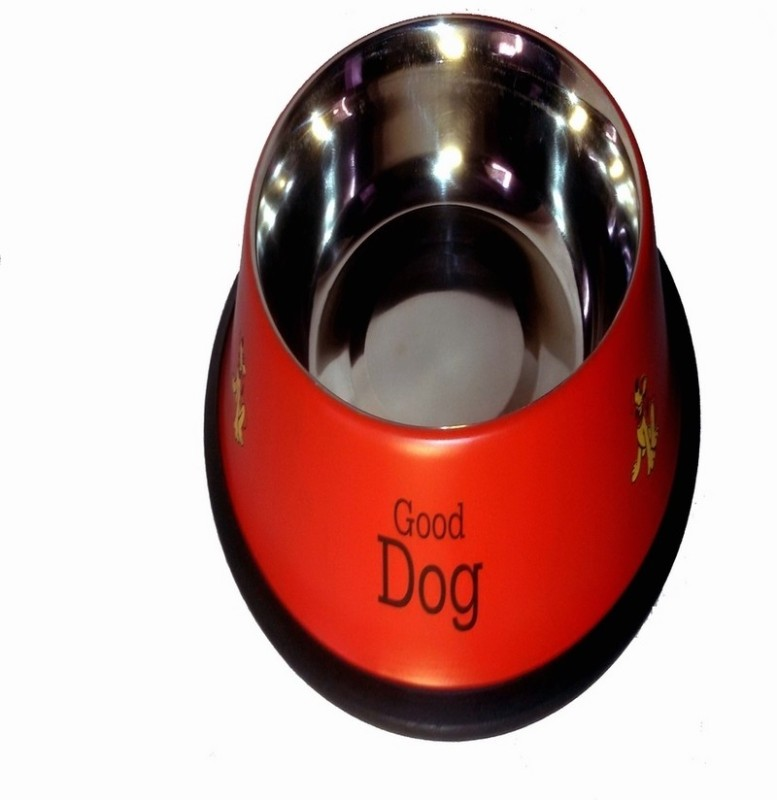 Pets Planet Round Stainless Steel Pet Bowl(450 ml Red)