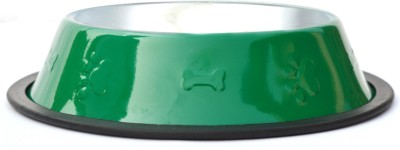 XPO Glossy Green Round Stainless Steel Pet Bowl