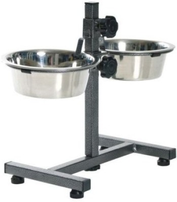Petshop7 2900x2 Ml Food Bowls With Stand -Xtra Large Stand Stainless Steel, Steel Pet Bowl(2900 ml Silver)