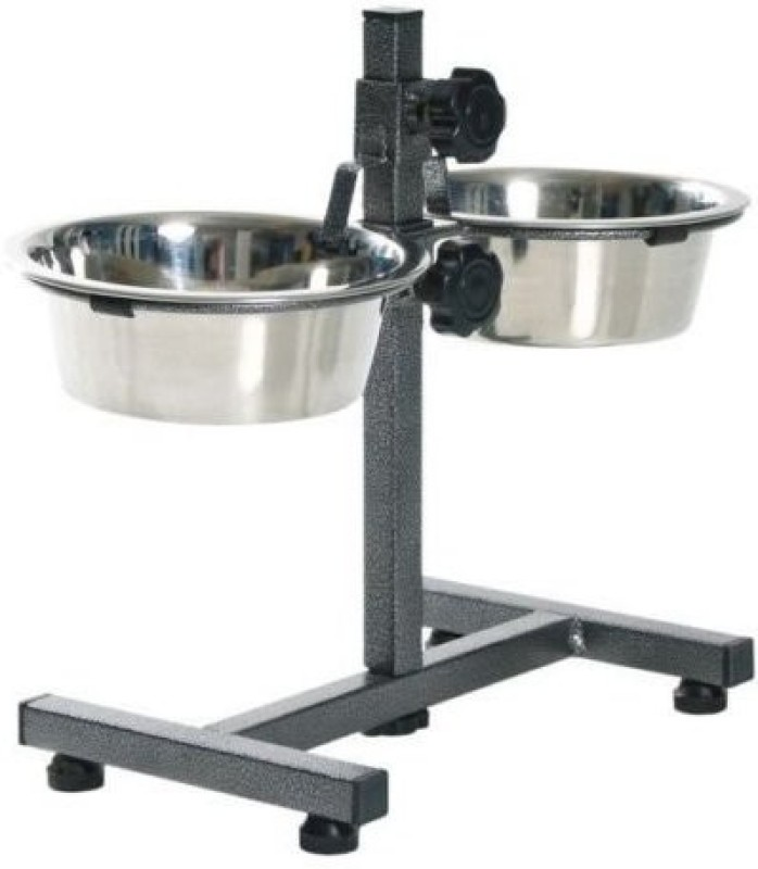 Petshop7 1020 Mlx2 Bowls Medium Dog Double Dinner Set With Stand Stainless Steel Pet Bowl(1020 ml Silver)