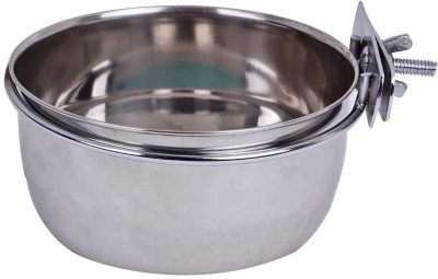 Pet Empire Bird Feeding Bowl With Clamp 200ml Round Steel Pet Bowl(200 ml Steel)