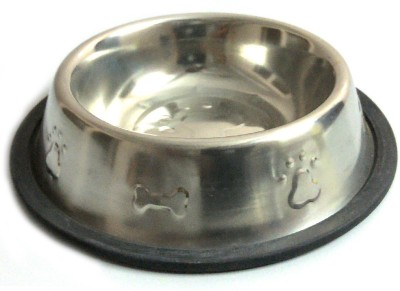 Pawzone Round Stainless Steel Pet Bowl(250 ml Steel)