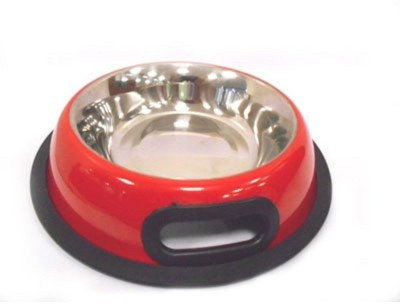 PetsFriendly Round Stainless Steel Pet Bowl(750 ml Red)