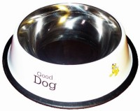 Pet Club51 Round Stainless Steel Pet Bowl(0.46 L White)