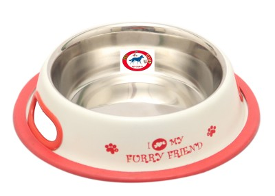 PET CLUB51 FURRY FRIENDS Round Stainless Steel Pet Bowl