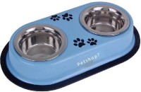 Petshop7 Light Blue 920ML Medium Dog Double Dinner Set Square Stainless Steel Pet Bowl(920 ml Blue)