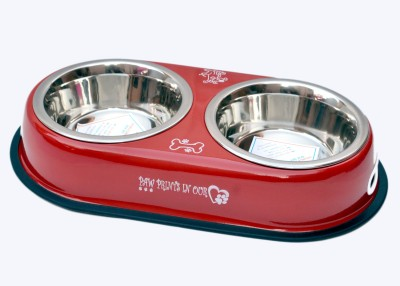 PETHUB Double Dinner Set Medium RED Round Stainless Steel Pet Bowl