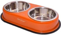 Petshop7 Red Dinner Set 220mlx2 For Small Dogs Square Stainless Steel Pet Bowl(220 ml Orange)