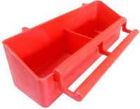 Paw Zone Rectangle Plastic Pet Bowl(3.5 ml Red)
