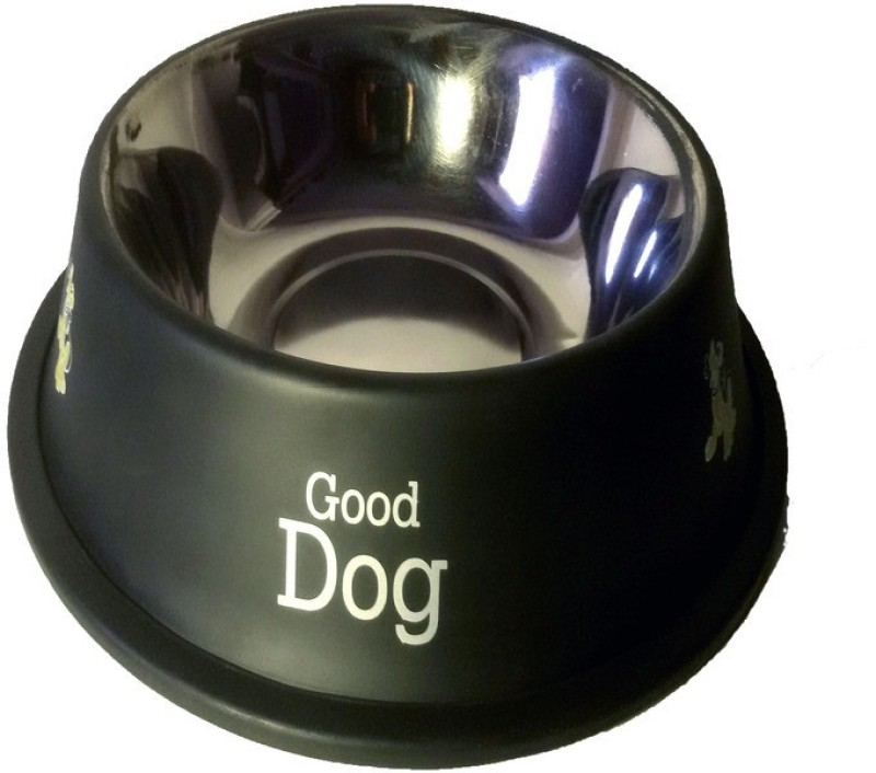 Pets Planet Round Stainless Steel Pet Bowl(2900 ml Black)