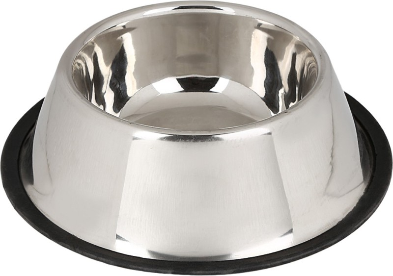 TommyChew Basic Grace Round Steel Pet Bowl(200 ml Silver)