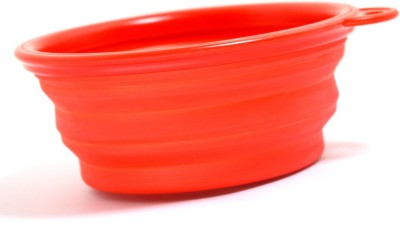 XPO Red Travelling Portable Round Silicone Pet Bowl